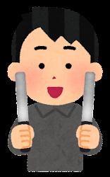 黒いペンライトを持つ人のイラスト(男性)