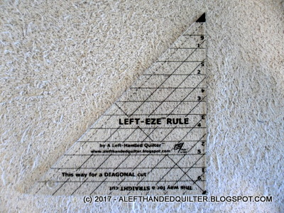 <b>LEFT-EZE™ Rule</b> -  a HST/QST Ruler designed for LEFT-HANDED Quilters