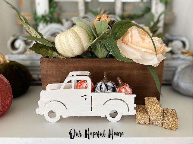 white pickup truck buffalo check pumpkins fall floral decor box