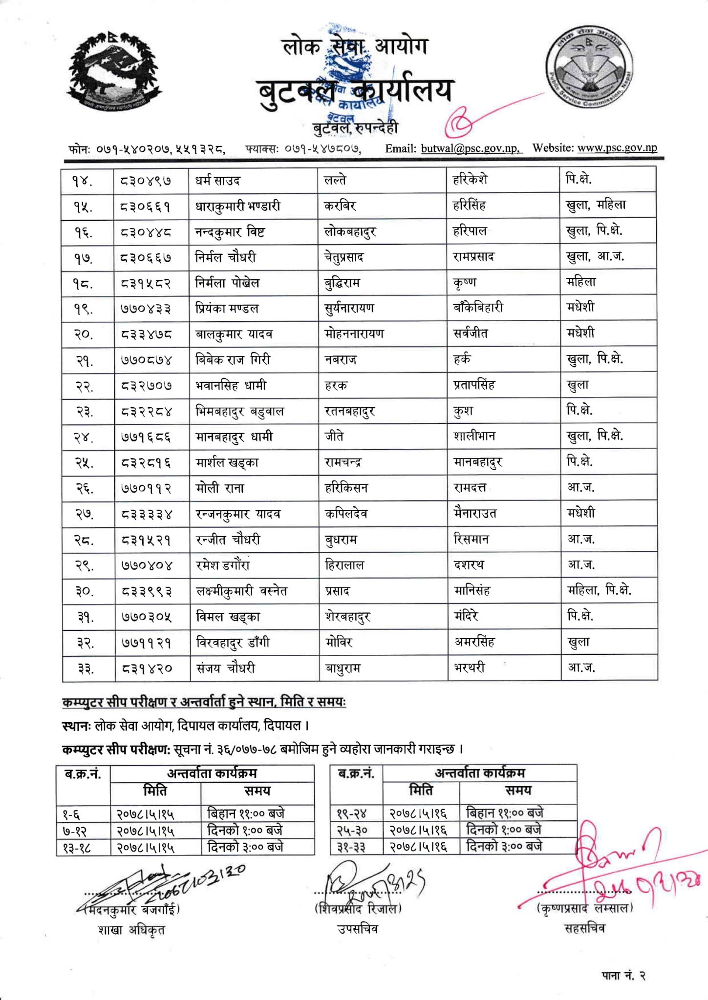 NASU Admin - Dipayal Lok Sewa Aayog Written Exam Result & Exam Schedule