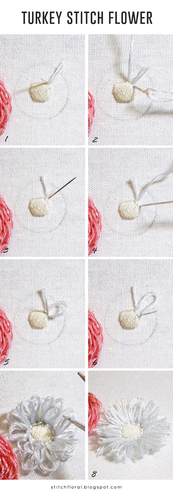 turkey stitch flower tutorial