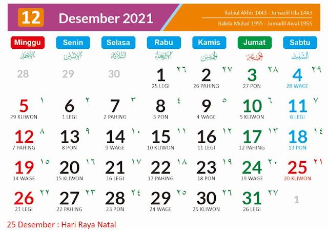 Kalender 2021 Bulan Desember