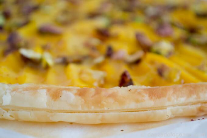 peach pistachio tart