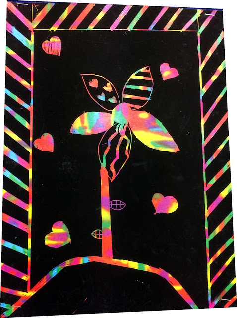 Scratch art with school Paints