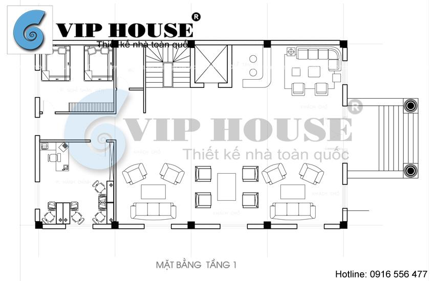 Hình ảnh: Thiết kế khách sạn mini cổ điển - mặt bằng tầng 1 tòa khách sạn
