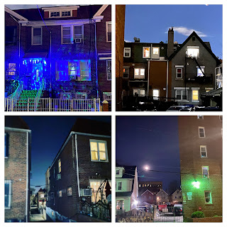 A four-picture collage of detached and semi-detached homes in the East Elmhurst neighborhood of Queens, New York.
