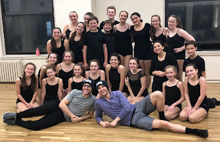 FSPA students taking a theater dance class with Broadway's Clay Thomson (Newsies, Wicked, Matilda, King Kong) and Christopher Rice (The Book of Mormon). Thomson has frequently guest taught for FSPA and Rice recently starred as Jack Kelly in the Franklin Performing Arts Company production of Disney's Newsies