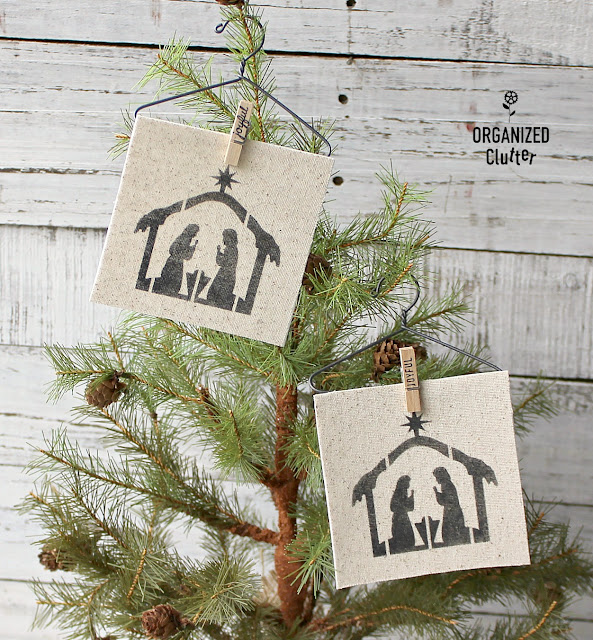 Semi Homemade Christmas Tree Ornaments with Hangers and Clothespins #stencil #fabricornaments #Nordicornaments #Nordicpattern #Nativityornament #clothespins #clotheshangers
