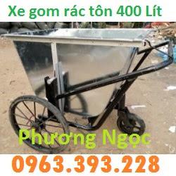 Xe gom rác bằng tôn 3 bánh, xe rác tôn 400 Lít, xe thu gom rác tôn, xe đẩy rác XRT400L5