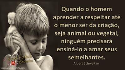 Quando o homem aprender a respeitar até o menor ser da criação, seja animal ou vegetal, ninguém precisará ensiná-lo a amar seus semelhantes. Albert Schweitzer