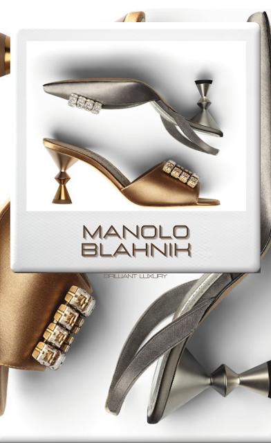 ♦Manolo Blahnik gold and silver bejeweled mules #manoloblahnik #shoes #brilliantluxury