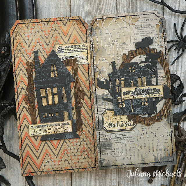 Ghost Town 2 Tag Book by Juliana Michaels featuring Tim Holtz Sizzix Ghost Town 2 and Ghost Town 1 Thinlits