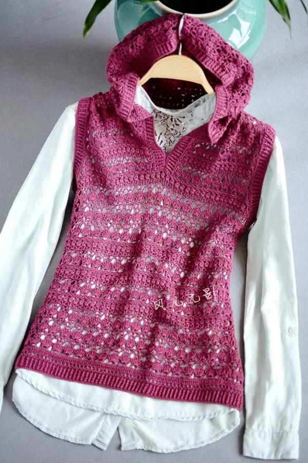 Crochet Vest Pattern For Women - Gorgeous Hooded Vest