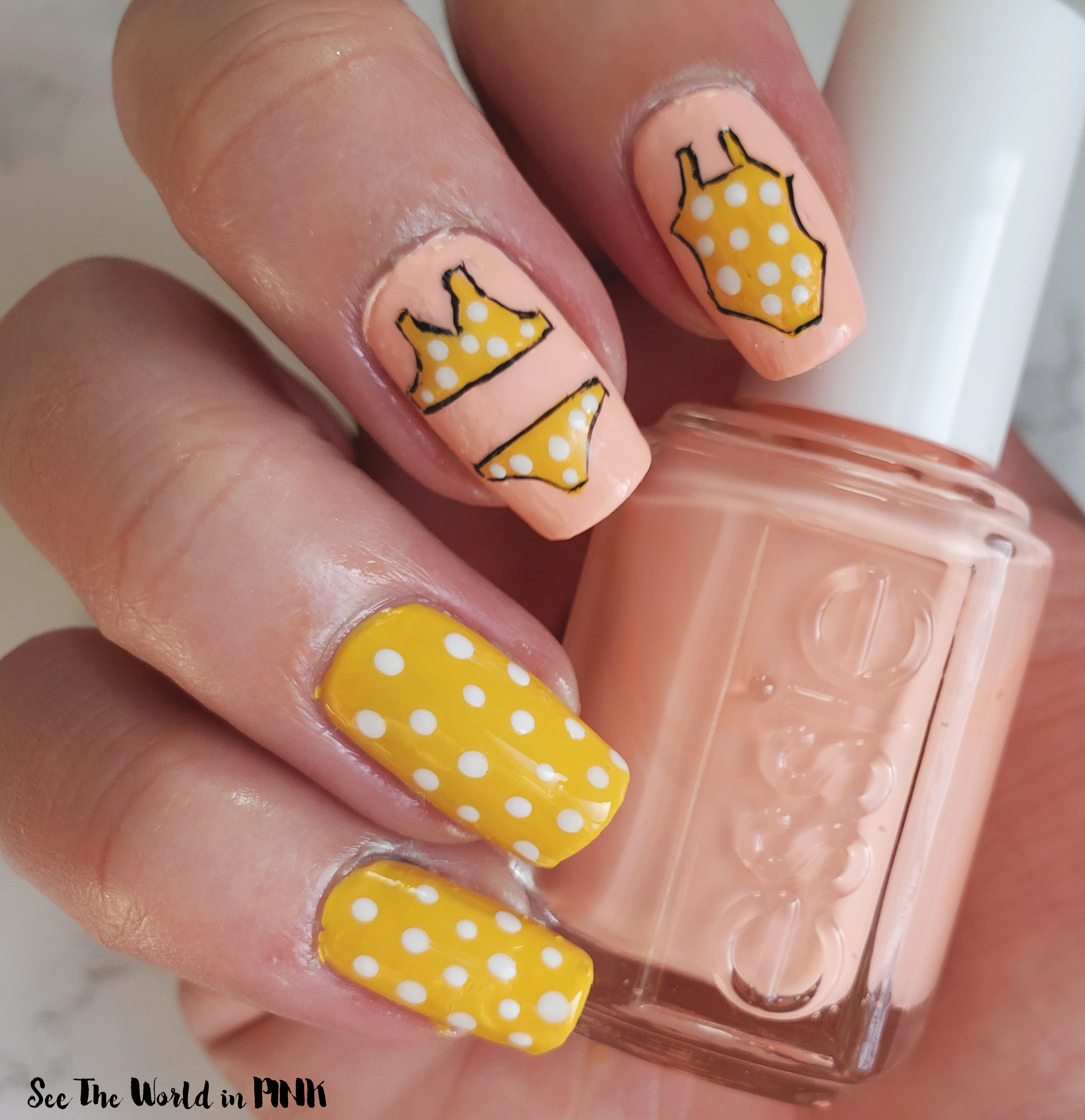 Manicure Monday - Yellow Polka Dot Bikini Nail Art