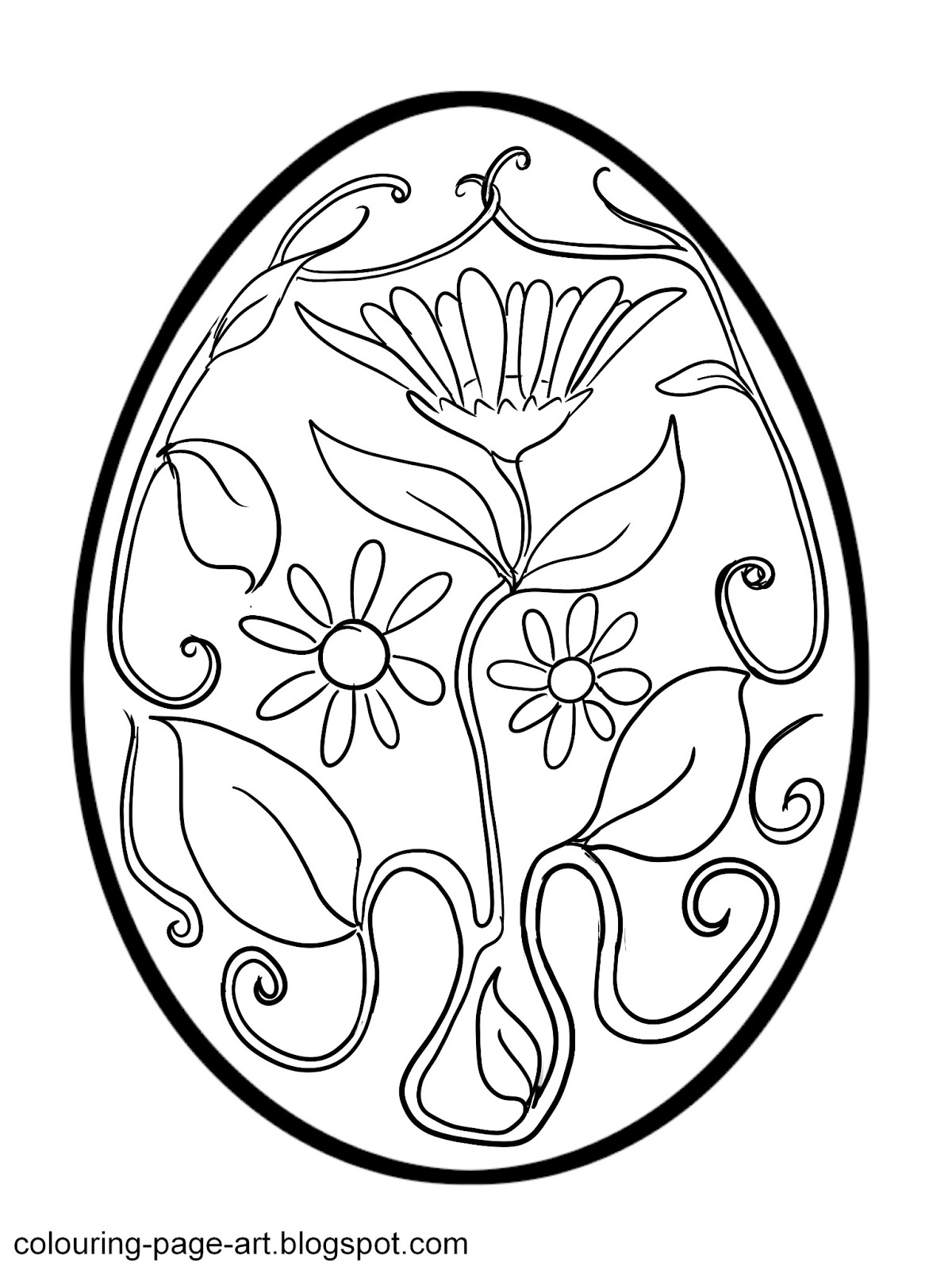 Colouring Page Art: Flower Power Easter Egg Colouring Page