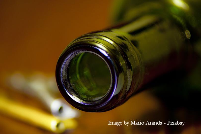 Closeup of wine bottle neck