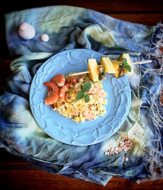 insalata di miglio con mazzancolle ed ananas