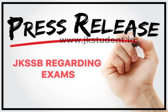 JKSSB | Important Press Release Regarding Resumption Of Exams
