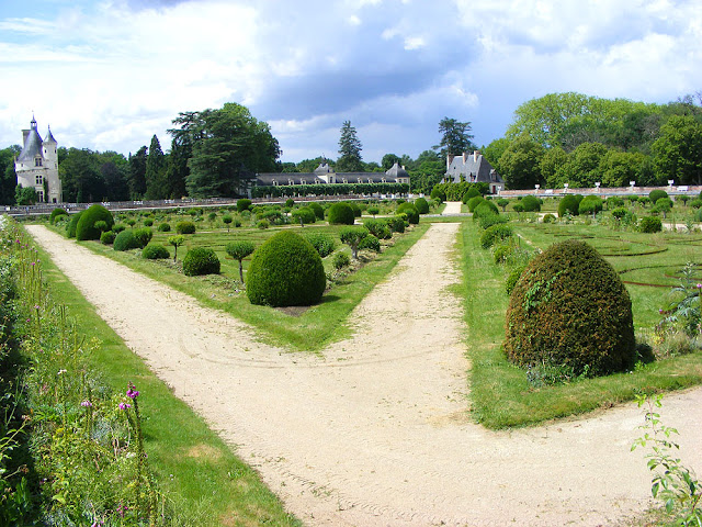 Diane de Poitier's garden, Chateau of Chenonceau, during Covid19 restrictions.  Indre et Loire, France. Photographed by Susan Walter. Tour the Loire Valley with a classic car and a private guide.