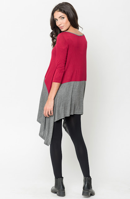 Buy Now Burgundy Two Tone Jersey Tunic Online $20 -@caralase.com