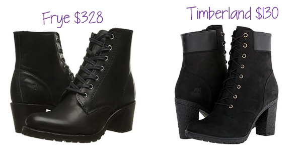 The lace-up combat/hiking bootie with a block/stacked heel is popular this fall. Timberland has a $130 alternative to the $328 Frye version!