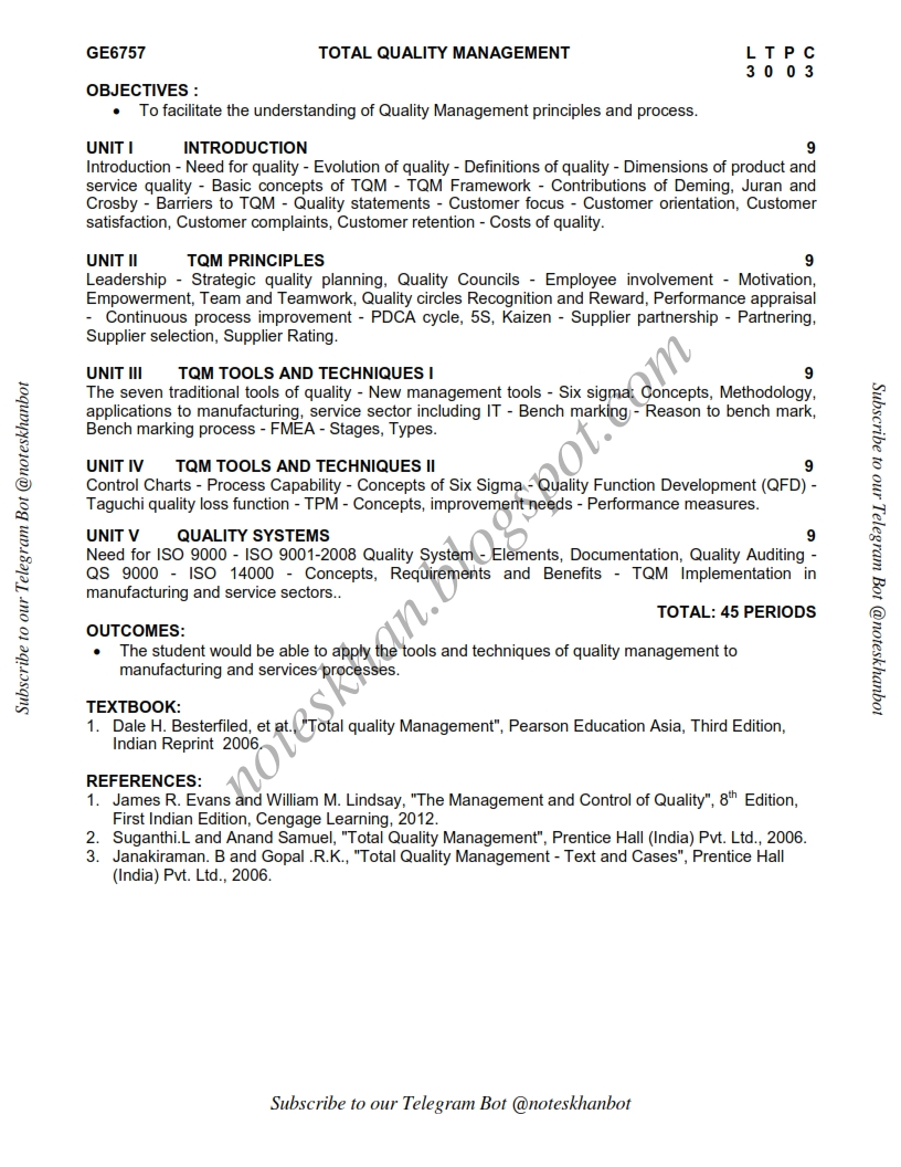 total quality management anna university question papers 2013 Ge2022 total quality management syllabus | anna university be ece 7th semester syllabus regulation 2008 2011-2012 below is the anna university seventh semester be electronics and communication engineering department syllabus it is applicable for all students admitted in the year 2011-2012 (anna university chennai,trichy,madurai,tirunelveli,coimbatore), 2008 regulation of anna university.