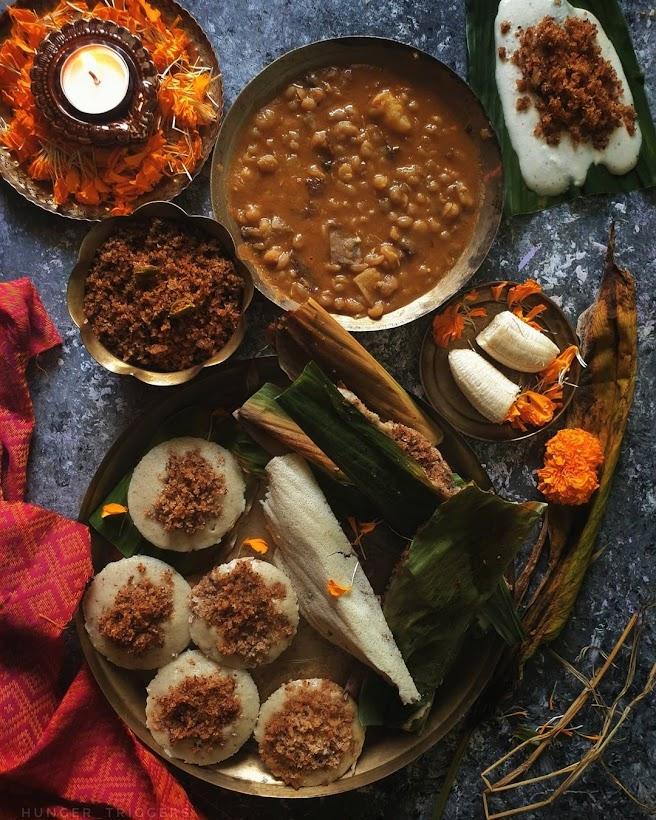Enduri pitha on the delicious plate for Prathamashtami