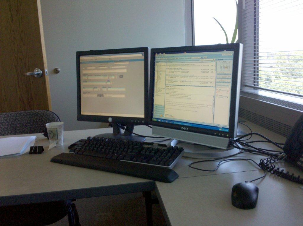 Suboptimal Dual Screen Computer Setup