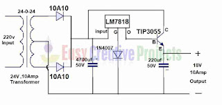 18v 10 amp power supply circuit diagram