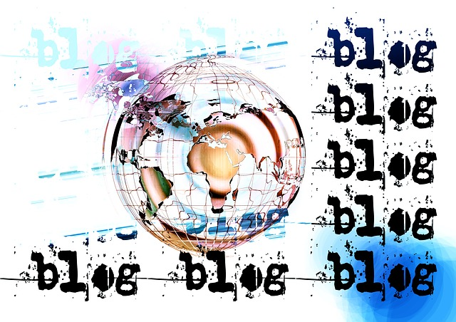 graphic with 'blog' written/stencilled repeatedly with artsy globe