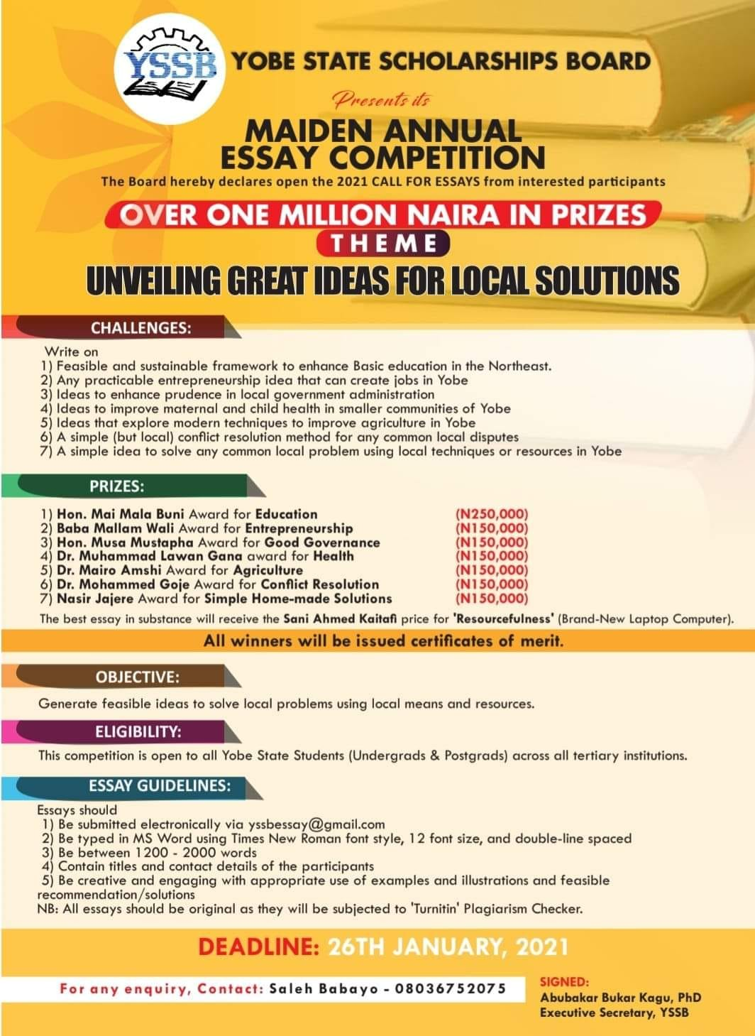 YSSB Annual Essay Competition 2021 | Over 1 Million in Prizes