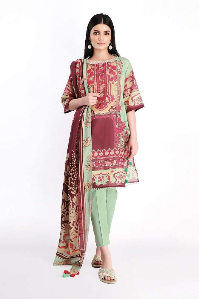 Khaadi Red & Green Lawn printed shirt with shalwar & Dupatta