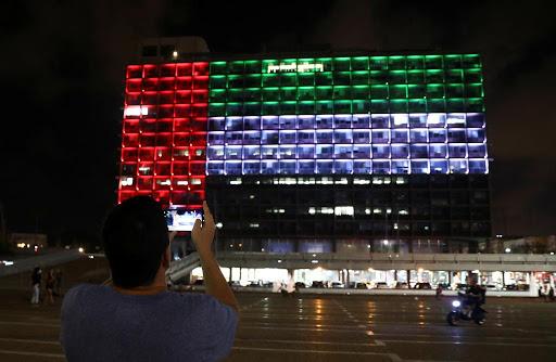 "Emirati flag in Tel Aviv ""Reuters"""