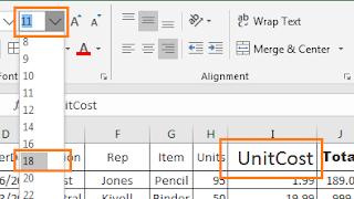 Font size drop down