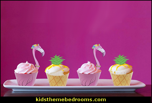 Flamingo Pineapple Palm Cupcake Toppers Wrappers for Luau Tropical Hawaiian Pool Party Supplies Cake Decorations Set