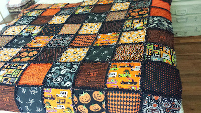 halloween rag quilt, autumn fall handmade blanket by refabulous in orange and black