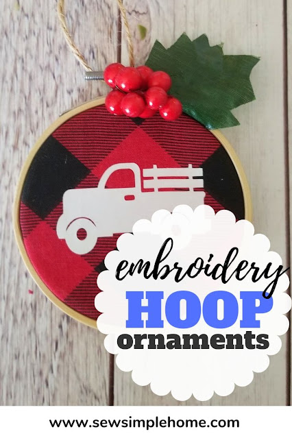 Create your own buffalo plaid ornaments this season with these simple embroidery hoop Christmas ornaments.