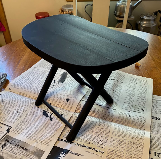 Photo of stool after being painted black
