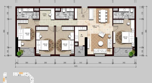 Thiết kế điển hình căn hộ 4 ngủ The Emerald
