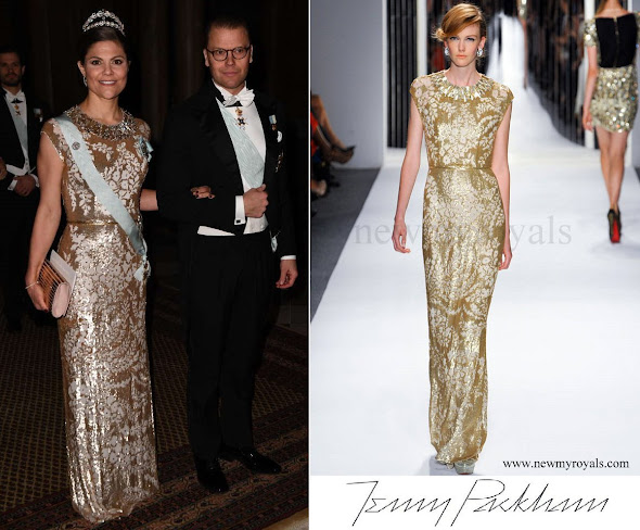 Crown Princess Victoria wore Jenny Packham Gown Spring 2013 Collection