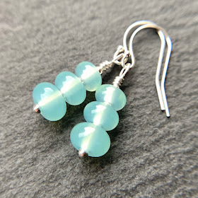 andmade lampwork glass bead earrings by Laura Sparling made with CiM Sea Glass