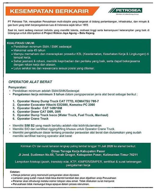 Lowongan Kerja SMA SMK PT Petrosea Tbk Juli 2020