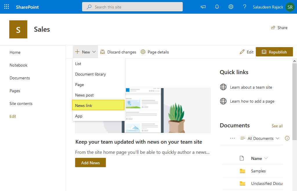 sharepoint online redirect home page