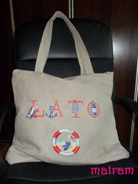 haftowana torba plażowa
