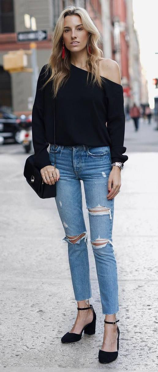 perfectly outfit: one shoulder top + rips + heels