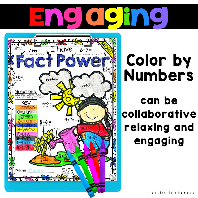 Spring Addition Activity Color by Number for Kindergarten Math and First Grade Math Students