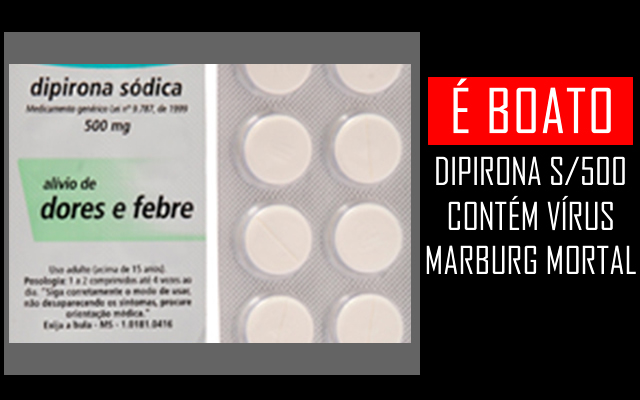 Nova Dipirona S/500 contém vírus Marburg