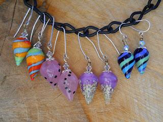 Isinglass Design earrings on handmade glass headpins