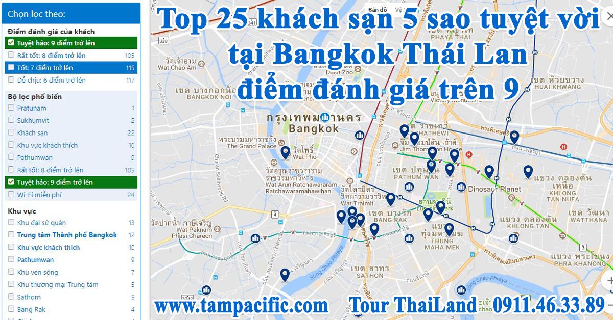 Top 25 khách sạn 5 sao tuyệt vời tại Bangkok Thái Lan điểm đánh giá trên 9