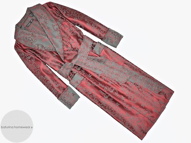 mens red paisley cotton dressing gown burgundy robe full length smoking jacket vintage baroque victorian dandy gentleman